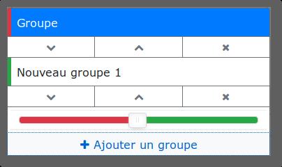 Menu groupe avec 2 groupes