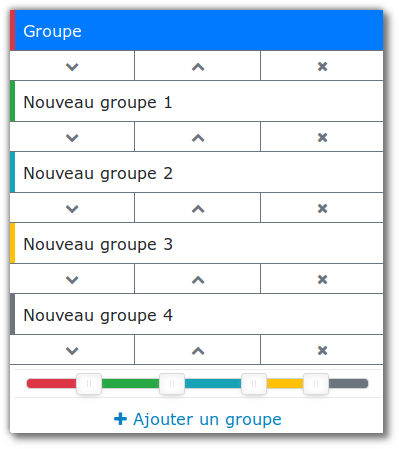 Menu groupe avec 5 groupes